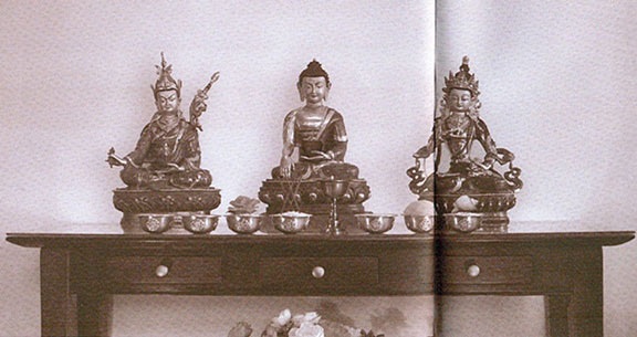 Left: Padmasambhava .......... Center: Buddha ...... Right: Vajrasattva.  Setting Up And Maintaining A Basic Tibetan Altar